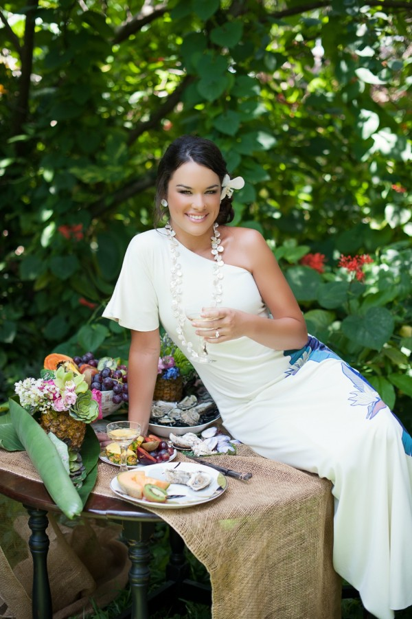 tropical beach wedding gown