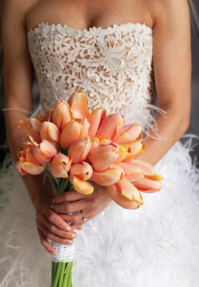 wedding dress with tulips